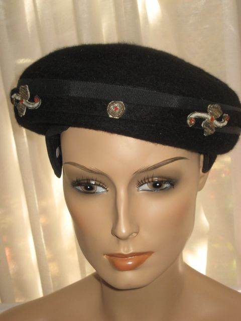 Vintage Black Wool Felt Poss. Beaver Hat/Tam w/Five Ornate Metallic & Faux Pearl Appliqu�s