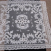 1930s Creamy White Tambour Net Lace Table Topper w/Organdy Insets-1 of 2