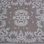 1930s Creamy White Tambour Net Lace Table Topper with Organdy Insets-2 of 2