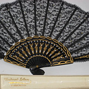 Beautiful Antique Black Lace Fan w/Hand Sewn Sequins in Original Box