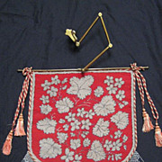 RARE Antique Beadwork Needlepoint Fire Screen w/Original Bar & Adjustable Brass Mount