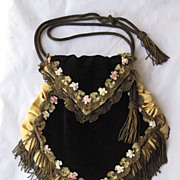 C. 20�s Black Velvet Purse w/French Ribbon Work, Metallic Fringe & Trim w/Tasseled Metallic Ro