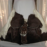 1980�s Carlos Falchi Brown/White Calf Hair Travel Shoulder Bag w/Leather Detail-Unused