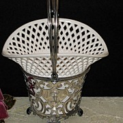 Antique Meriden Silver Plated Basket w/Porcelain Insert