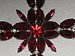 Vintage Deep Red & Clear Rhinestone Cross Brooch