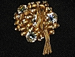 Vintage Brooch with Gold Balls, Rhinestones & Mesh Dangles