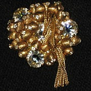 Vintage Brooch with Gold �Balls�, Rhinestones & Mesh Dangles