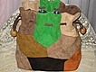 Vintage 1960�s Multi-Color Patchwork Suede Drawstring Purse-Never Used