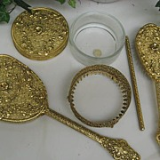 SALE 2DIE4-Vintage 24 Kt. Gold Plated Four Piece Vanity Set w/Floral Swags Galore!