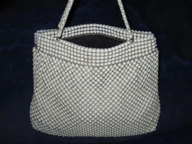 Vintage Whiting & Davis Cream Color Metal Mesh Purse