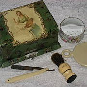 SALE Antique Victorian Celluloid Shaving Box w/Contents-Young Lady w/Painting Palette-Incl.�Th