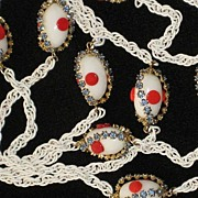 Vintage White 32� Long Necklace w/White Oval Beads, Red �Dots� & Baby Blue Prong Set Rhineston