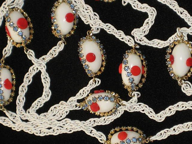 "Vintage White 32"" Long Necklace w/White Oval Beads, Red ""Dots"" & Baby Blue Prong Set Rhinestones"