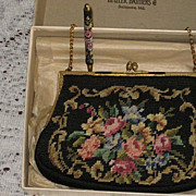 Never Used Vintage Black Floral Needlepoint Purse w/Matching Needlepoint Pencil-In Original Bo