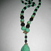 Vintage Peking Glass & Black Cut Glass Beaded Necklace w/Large Peking Glass Oval Drop