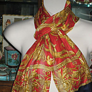 Beautiful Vintage Silk Chiffon Red, Navy & Gold Scarf