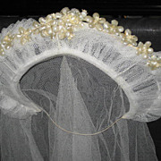 1930s Stand Up Netted Wedding Tiara w/Wax Orange Blossoms & Original Net Veil