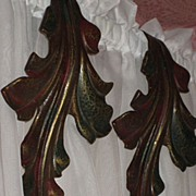 SALE Pair of Vintage Metal Curtain Drape Tie Backs in Curved Leaf Design