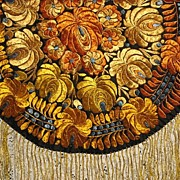 Vintage Hungarian Matyo Hand Made Round Tablecloth w/Fringe-Rusty Orange, Goldish Yellow & Fre