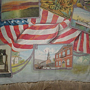 SALE Rare Antique 1900s Patriotic Litho on Canvas Pillow w/Embroidered Ruffle-U.S. Flag, Stat