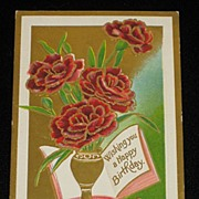 Antique ZIM �Happy Birthday� Embossed Red Roses Postcard-Unused