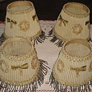 SALE 4 Vintage 1930�s Small Lamp Shades with Beaded Fringe & French Ribbon Appliqu�s