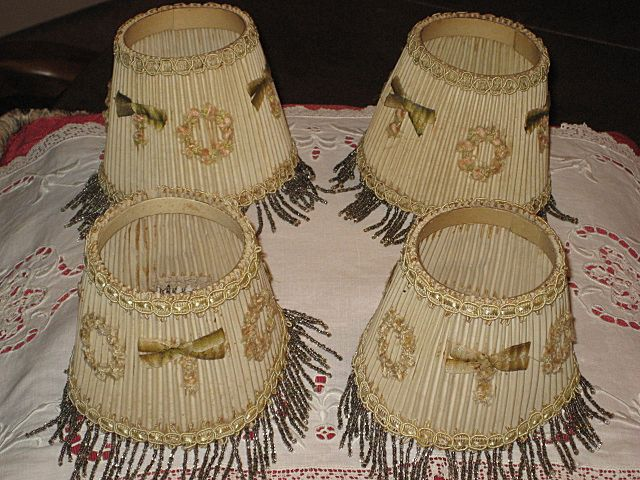 4 Vintage 1930's Small Lamp Shades with Beaded Fringe & French Ribbon Appliqu�s