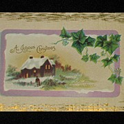 Antique �A Joyous Christmas� Embossed Post Card with Ivy & Winter Scene
