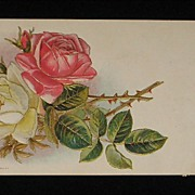 Antique 1910 Embossed Pink & Yellow Roses, Buds Post Card with Gold Gilt Detail
