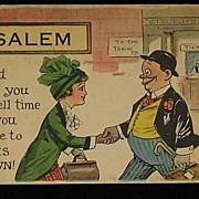 Comical 1914 Post Card of Traveling Salesman & Lady at the Train Station