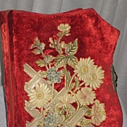 Antique Victorian Red Velvet Photo Album with Ornate Pastel Floral Celluloid Detail-Unusual Sh