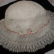 Antique Lace & Eyelet Ladies Sleep Bonnet/Cap with Pink French Silk Ribbon Roses Trim