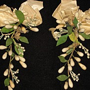 Pair of Antique C. 1800�s French Wax Wedding Corsage's