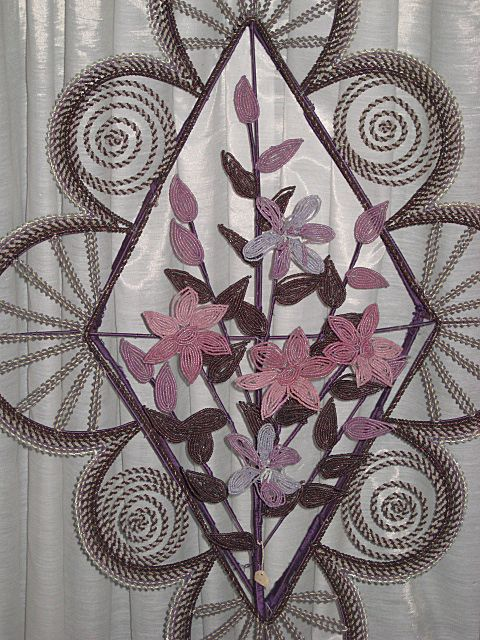 Superb Antique French Hand Beaded Wreath, Wall Hanging in Lavender, Pink, Plum & White