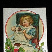 Antique Embossed Postcard-Young Girl at Dinner Table with her Dog w/Napkin,-With Holly, Berrie