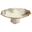 Antique porcelain compote cake stand hand painted signed Addie Youngblood