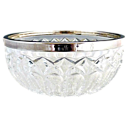 Vintage glass bowl sterling silver rim German crystal