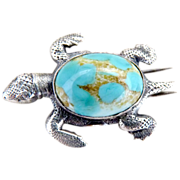 Sterling turtle fur clip turquoise body 1930s
