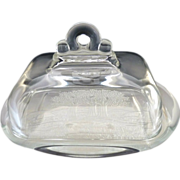 Vintage glass butter dish embossed meadow scene