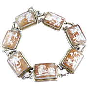 Vintage cameo bracelet seven days of the week Italian 800 silver c. 1930ss