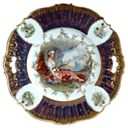 RS Prussia portrait cake plate Diana cherubs tiffany finish
