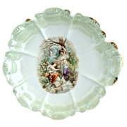 Antique porcelain portrait bowl girls with swans Royal Porcelain Bavaria