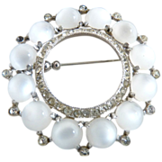 Vintage moonstone brooch crystal rhinestones