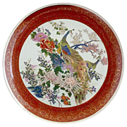 Satsuma porcelain plate Peacock pair hand decorated