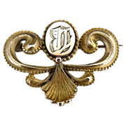 Antique watch lapel pin reverse monogram B c. 1880s