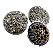 Antique steel cut metal buttons jeweled tops