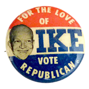 Vintage political pin Dwight D. EISENHOWER Republican campaign 1950s