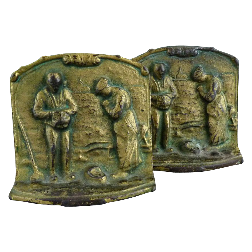Vintage bronze bookends the angelus by francois millet c 1930s from victoriascurio on ruby lane - Antique brass bookends ...