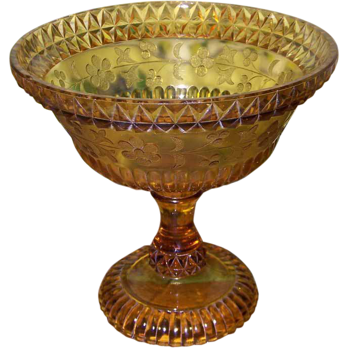 Adams glass co amber pressed glass open compote wildflower for L furniture warehouse victoria bc