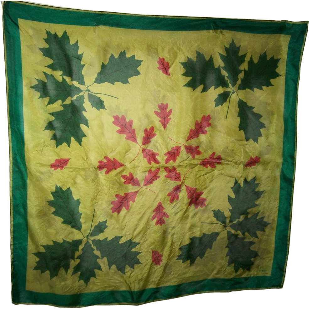 A delicate vintage silk scarf by vera leaf leaves pattern for L furniture warehouse victoria bc